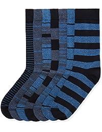 find. Calcetines de Rayas para Hombre, Pack de 7, Azul (Blue Mix), (Talla del fabricante: Large)