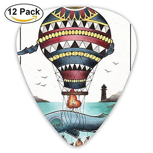 Hammerhead Whale Fish With Hot Air Baloon Marine Sea Coast Shore Guitar Picks 12/Pack -
