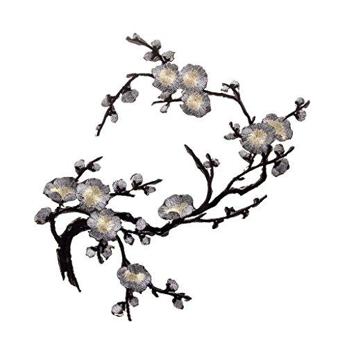 Sungpunet Fleur de Prunier Broderie Patches Transfert thermocollant Patch Patch en Tissu pour vêtements Patches Badges Patches 1pcs Argent Noir