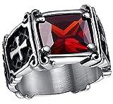 Anyeda Partner Ringe Er/Sie Edelstahl Christus Kreuze Design Red Cz Bands 12Mm Ringe Love Only You Größe 67 (21.3)