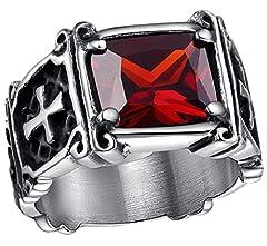 Idea Regalo - AieniD Uomo Anelli in Acciaio Inox Cristo Crocifissi Design Rosso CZ Bands 12MM Dimensione 20