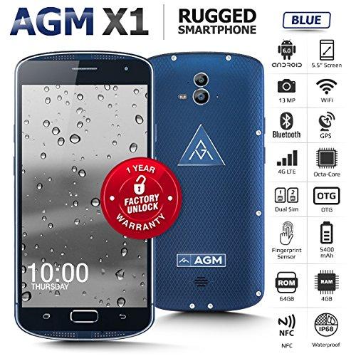Outdoor Handy, AGM X1, Outdoor Smartphone Ohne Vertrag 5,5 Zoll FDD LTE Super AMOLED Screen Android 5.1 Octa Core 13MP Dual Kamera 4GB RAM + 64GB ROM 5400mAh Akku IP68 Wasserdicht Stoßfest Staubdicht Unterstützt BT4.0 WLAN GPS Kompass NFC Blau [AGM Offizielle]