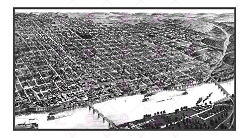 MAP ANTIQUE 1887 WELLGE LITTLE ROCK ARKANSAS CITY PLAN REPLICA PRINT PAM1976 - 1887 Antique Map