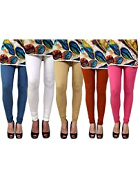 Anekaant Pack Of 5 Cotton Lycra Free Size Women's Legging -White, Beige, Brown, Pink, Grey