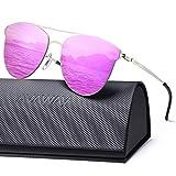 AVAWAY Verspiegelte Damen Sonnenbrille getönt, übergroße UV400 Sonnenbrille mit Ultra Leicht Nylon Gläser