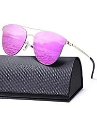 54480e675d AVAWAY Moda de Metal Clásico Marco Gafas de Sol Mujer Espejo Lente con  protección UV400,