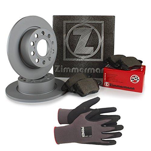 Inspektionspaket Zimmermann Bremsen Set inkl. Bremsscheiben Ø 253 mm und Bremsbeläge für hinten, 100% passend für Ihr Fahrzeug, inkl. Priner Montagehandschuhe, AN152