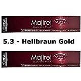 2x Loreal Majirel 5,3 Hellbraun Gold Creme Haarfarbe - 50ml