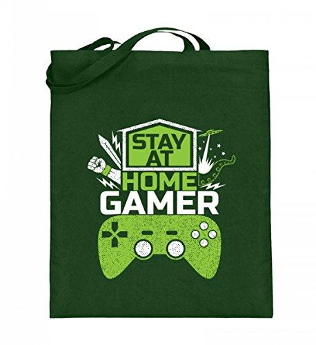 Hochwertiger Jutebeutel (mit langen Henkeln) - Stay At Home Gamer - Gaming Videospiele Zocker zocken Online Multiplayer Videogames Green
