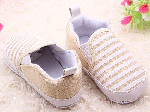 Minetom Baby Kleinkind Striped Sneakers Weiche Sohle Anti-Rutsch Outdoor Prewalker Schuhe Khaki