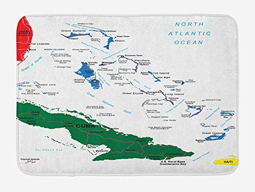 JIEKEIO Wanderlust Bath Mat, Bahamas Map Beach Cayman Islands Geography District Holiday Tourism, Plush Bathroom Decor Mat with Non Slip Backing, 23.6 W X 15.7 W Inches, Hunter Green Blue Red -