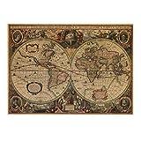 Tocoss(TM) Cartel de la vendimia Globo del cartel de mapas Mapa Mundial Luna Lunar etiqueta de la pared del papel pintado arte carteles de papel retro