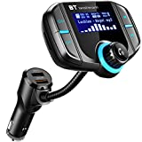 Bluetooth FM Transmitter, SRUIK KFZ Auto Radio Adapter Car Kit mit 2 USB Ladern, AUX-Eingang & 1.7-Zoll-Display zur Übertragung von Musik vom TF-Kartenslot, iOS- und Android-Geräte