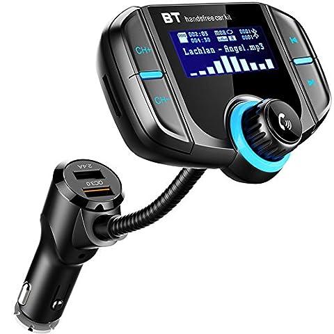 Bluetooth FM Transmitter, LEHXZJ KFZ Radio Adapter mit EQ-Sound, Freisprecheinrichtung Car Kit mit 2 USB Ladern (QC3.0 & 5V/2.4A) und Mikrofon, 1.7-Zoll-Display, AUX-Eingang,TF-Kartenslot , drahtlose Übertragung zum Autoradio vom MP3-Player, iOS- und Android-Geräte