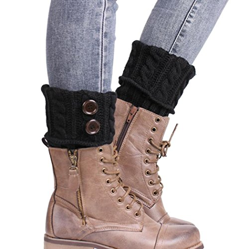 Fulltime 2016 1 Paire Knitting Socks Jambières Boot Cover Gardez chaussettes chaudes (Noir)