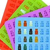 Jeerui JMM Silikon Eiswürfel Tabletten Set Gummibärchen Süßigkeit-Silikon-Formen aus 4 Gummibären-Formen und 2 Dropper für Schokolade,Jelly,Sirup, Seifen-Formen