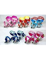 Nijdam 1009457 Patinettes à glace pour enfant, longueur réglable, rouge/bleu/jaune, taille 24–34