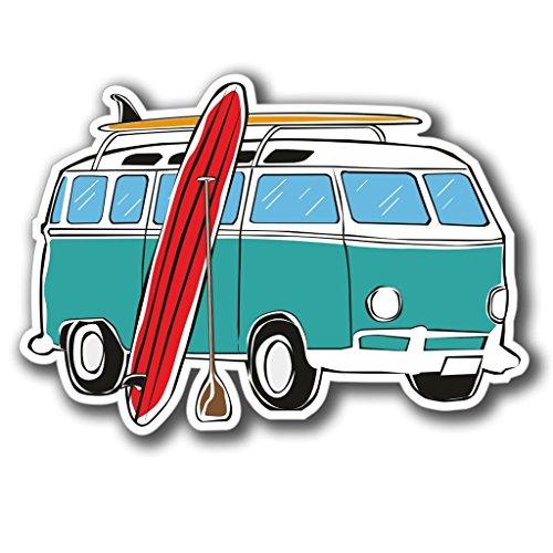 2 x 10cm/100mm Wohnmobil Surf Surfer Vinyl SELBSTKLEBENDE STICKER Aufkleber Laptop reisen Gepäckwagen iPad Zeichen Spaß #4074