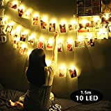 LED Foto Clip Lichterketten, Morbuy Foto Clips Lichterkette Warmweiß Batteriebetrieben1.5m/10LED Foto-Clips Dekoration für Wohnzimmer Bar Cafe Weihnachten Hochzeiten Party Themen (1.5m / 10 Lichter)