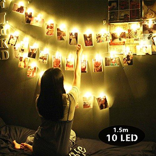 Led foto clip stringa di luce, morbuy10 foto clips 1.5m batteria bianco caldo luce decorativa immagine illuminazione ghirlanda catene luminose ideale per addobbi festa natale matrimonio (1.5m / 10 luc