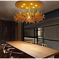 YMJ European Dandelion Ceiling Lamp Art Creative Hotel Living Room Wood Grain Fancy Restaurant Carpenter Wood Chandelier,1,Diameter60