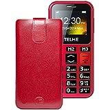 Original Favory Etui Tasche für / Emporia TELME C150 / Leder Etui Handytasche Ledertasche Schutzhülle Case Hülle Lasche mit Rückzugfunktion* In Rot