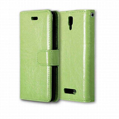 Custodia Lenovo A1000 Cover Case, Ougger Portafoglio PU Pelle Magnetico Stand Morbido Silicone Flip Bumper Protettivo Gomma Shell Borsa Custodie con Slot per Schede Colore Nero verde