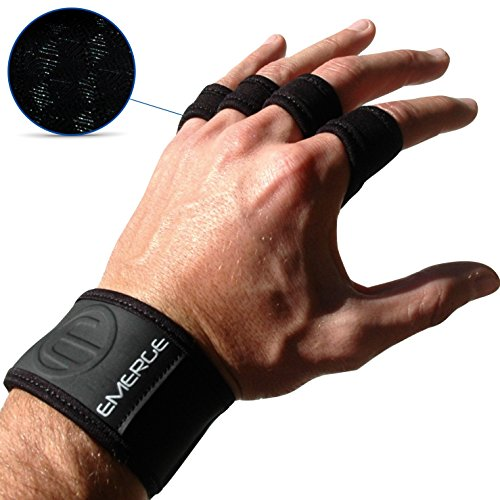Trainingshandschuhe mit Handgelenkbandage von Emerge – Fingerlose CrossFit, Kraftsport & Fitness Handschuhe mit Handgelenkstütze für Herren & Damen – Sporthandschuhe für mehr Grip und weniger Hornhaut im Fitnessstudio