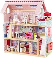 KidKraft 65054 Casa delle Bambole in Legno Chelsea Doll Cottage per Bambole di 12 Cm con 16 Accessori Inclusi e 3 Livelli di Gioco