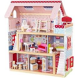 KidKraft 65054 Maison de poupées en bois Chelsea incluant accessoires et mobilier, 3 étages de jeu pour poupées 30 cm
