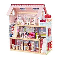 Idea Regalo - KidKraft 65054 Casa delle Bambole in Legno Chelsea Doll Cottage per Bambole di 12 Cm con 16 Accessori Inclusi e 3 Livelli di Gioco