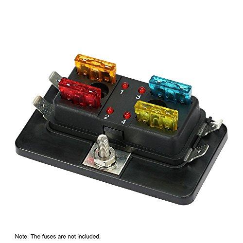 KKmoon 4-Wege Klingenhalter Fuse Box mit LED Warnung Beleuchtungssatz für Auto Boot Marine Trike 12V 24V (Boot-box)