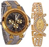 #6: Xforia Golden Color Analogue Couple Watch For Men and Women Fashion Low Price (Pack of 2)