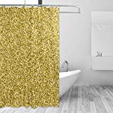 FCZ Moderner Duschvorhang, wasserabweisend, mit Glitzer-Effekt, 167,6 x 182,9 cm, Polyester, Mehrfarbig, 72x72