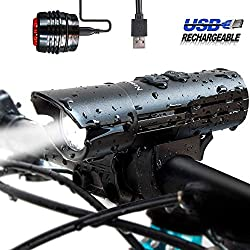 FUCUU USB LED Fahrradbeleuchtung Set,800 Lumen Cree XM-L U3 LED Fahrradlampen Wiederaufladbares Fahrradlicht und Rücklicht Set & USB Wiederaufladbar für Frontlicht &Rücklicht