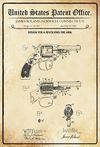 US Patent - Design for A Revolving Firearm- Entwurf für einen Revolver - Boland, Connecticut, 1885 - Urkunde No 317.965 - Schild aus blech, tin sign, geschichte