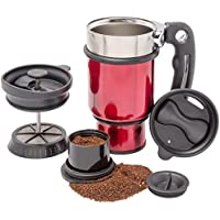 French Press Travel Mug with Handle, Storage Container for Extra