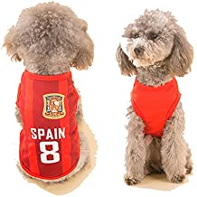 Dog Clothes Football T-shirt Dogs Costume National Soccer World Cup FIFA Jersey for Pet Spain