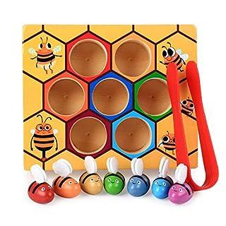 Volwco Toddler Ruche Maternelle Jouets en Bois, Bébé Early Educational Toddler Montessori Jeu Coloré Ruche Box (01)