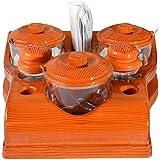 Sukhson India Plastic All in One Pickle Jar, Salt Pepper Dispenser, Tissue Napkin and Toothpick Holder(Brown)