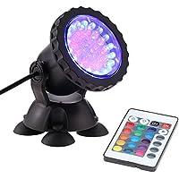 Docooler 1.5W 36 LED RGB Luz del Acuario Regulable Lámpara de Luz Pecera del Acuario Proyector Giratorio con Control Remoto