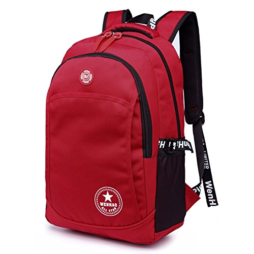 Super moderno Unisex in Nylon Zaino impermeabile zaino da escursionismo zaino zaino libro borse sportive Laptop Bag Moda Regalo Di Natale, Uomo donna Bambino, Purple, 36-55L Red