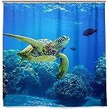Setyserytu Cortinas de baño/Cortinas de baño, Undersea Turtle Shower Curtain Waterproof Polyester Shower Curtain