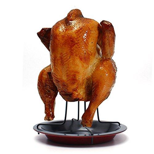 Morran Hähnchengriller für den Backofen, Vertikaler Röster-Huhn-Halter mit Drip Pan für Ofen oder Grill, Grill-Zusätze Edelstahl