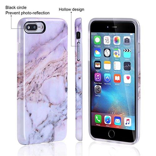 Cover iPhone 6/6S Plus marmo nero silicone Guscio morbido DECHYI TPU silicone e IMD disegno marmo Custodia serie -Nebulosa nera corallo