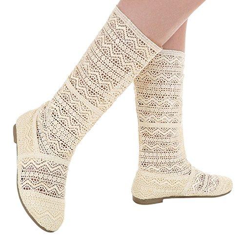 Damen Schuhe Pumps Spitze Sommer Stiefel Schwarz Beige