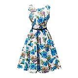 Lauzal 50s Retro Vintage Rockabilly Kleid Cocktailkleid Knielang Blumenprint Partykleid mit Gürtel Gr:-L, Farbe:-Blau-wblumen