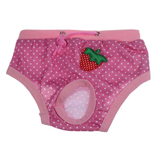LHWY Weibliche Haustier Hund körperliche Menstruation Gesundheit Hosen Baumwolle Schlüpfer Striped Striped Strawberry Patterns (S, Rosa)
