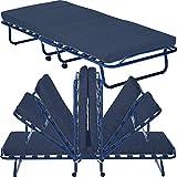 Gäste-Bett Smart mit Matratze klappbar 80 x 190 cm Klapp-Bett mit stabilem Metall-Rahmen Gäste-Liege mit Rollen