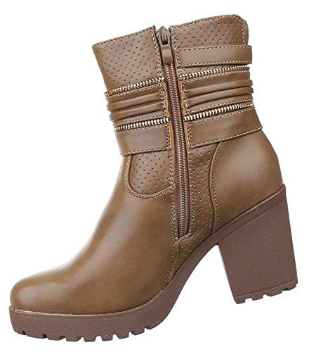 Damen Stiefeletten Schuhe Warm Gefütterte Boots Schwarz Braun 36 37 38 39 40 Hellbraun